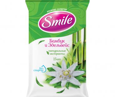 SMILE Daily Влажная салфетка Бамбук и Эдельвейс New, 15 шт