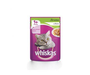 Корм для котов Whiskas 1год+ с ягненком в желе, 100 г