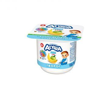 Детская молочная продукция Творог Агуша банан-яблоко 3,9% 100г ванна