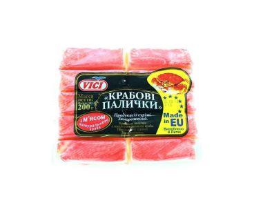 Замороженные креветки, крабовые палочки VICI Крабовые палочки с мясом натурального краба замороженные 200г