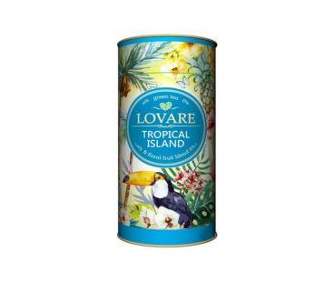 Чай фруктово-цветочный Чай зеленый китайский листовой Lovare Тропический остров 80 г