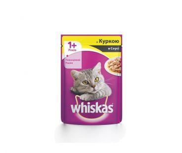 Корм для котов Whiskas 1год+ с курицей в соусе, 100 г