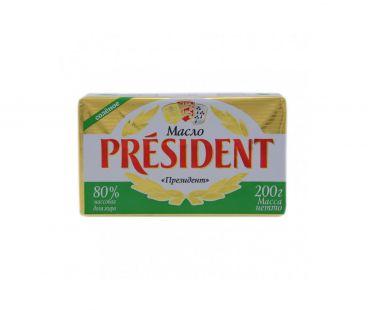 Масло и Маргарин President Масло кислосливочное солёное 80% 200г