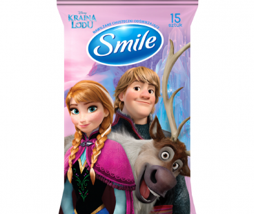 "SMILE Влажная салфетка ""Frozen"" mix WHITE з єврослотом 15 шт"
