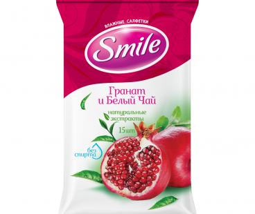 SMILE Daily Влажная салфетка Гранат и Белый чай New, 15 шт. Еврослотом