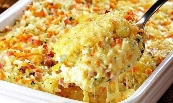 Рисовая запеканка с сыром и колбасой