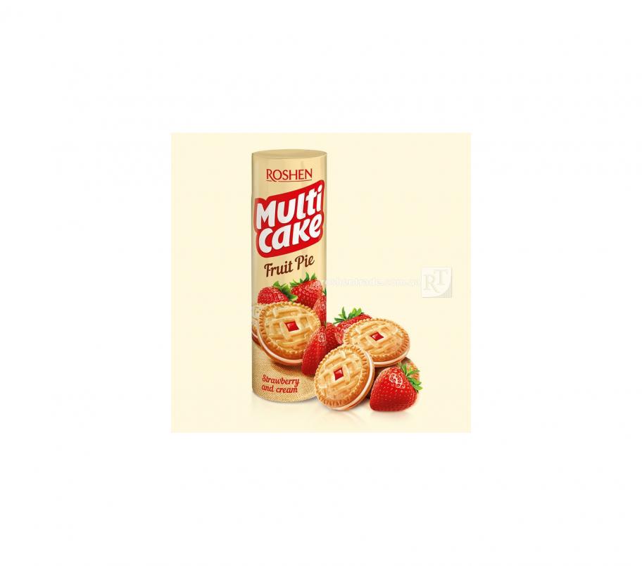 Roshen Multicake печенье-сендвич клубника крем 195г