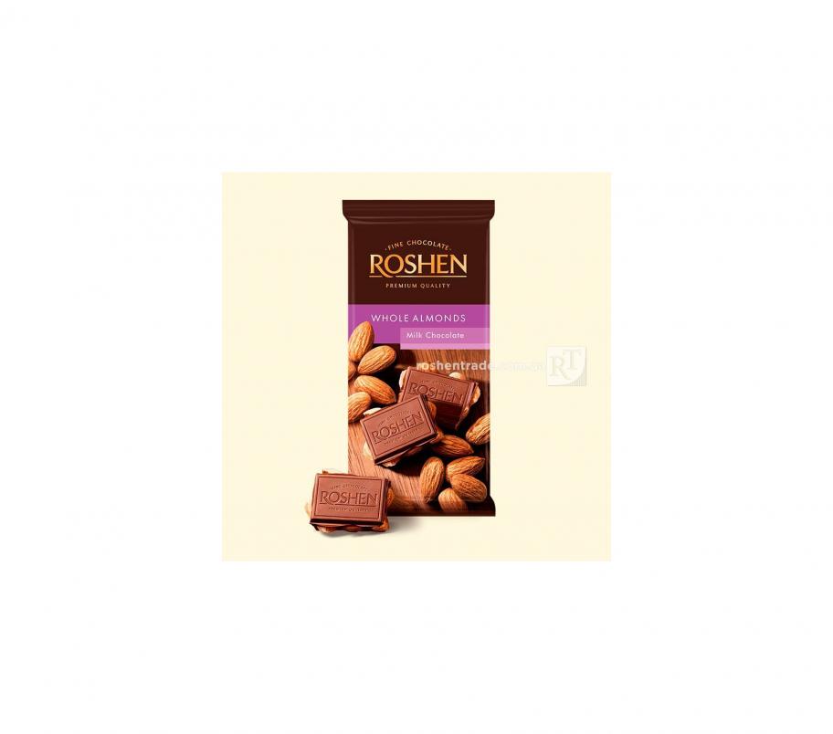 Roshen Шоколад молочный с целым миндалем