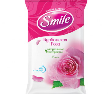 SMILE Daily Влажная салфетка Бурбонская роза New, 15 шт