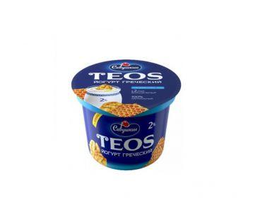 Десерты, йогурты Teos йогурт греческий 2% Орех-Мед 140г