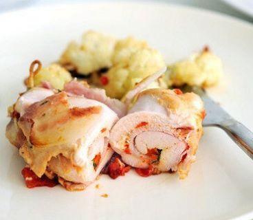 Куриные рулеты с прошутто, моцареллой и жареным перцем