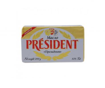 Масло и Маргарин President Масло кислосливочное 82% 200г