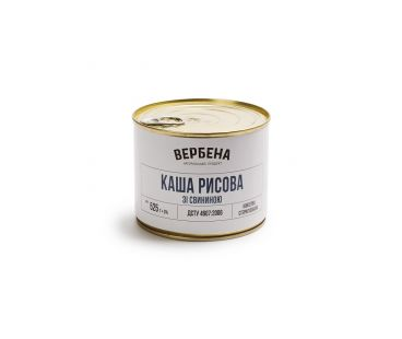 Вербена Каша рисовая со свининой 525г ж/б