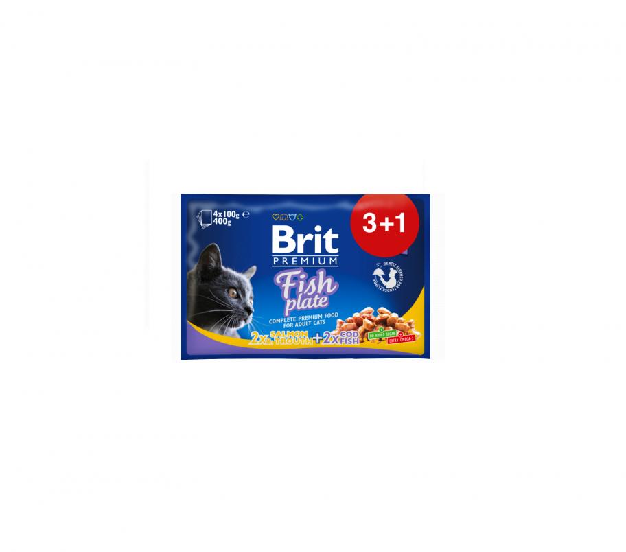 Brit Корм для котов Премиум Рыбная тарелка 4*100г