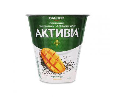Активия Бифидойогурт манго-чиа 2.5% стакан 260г