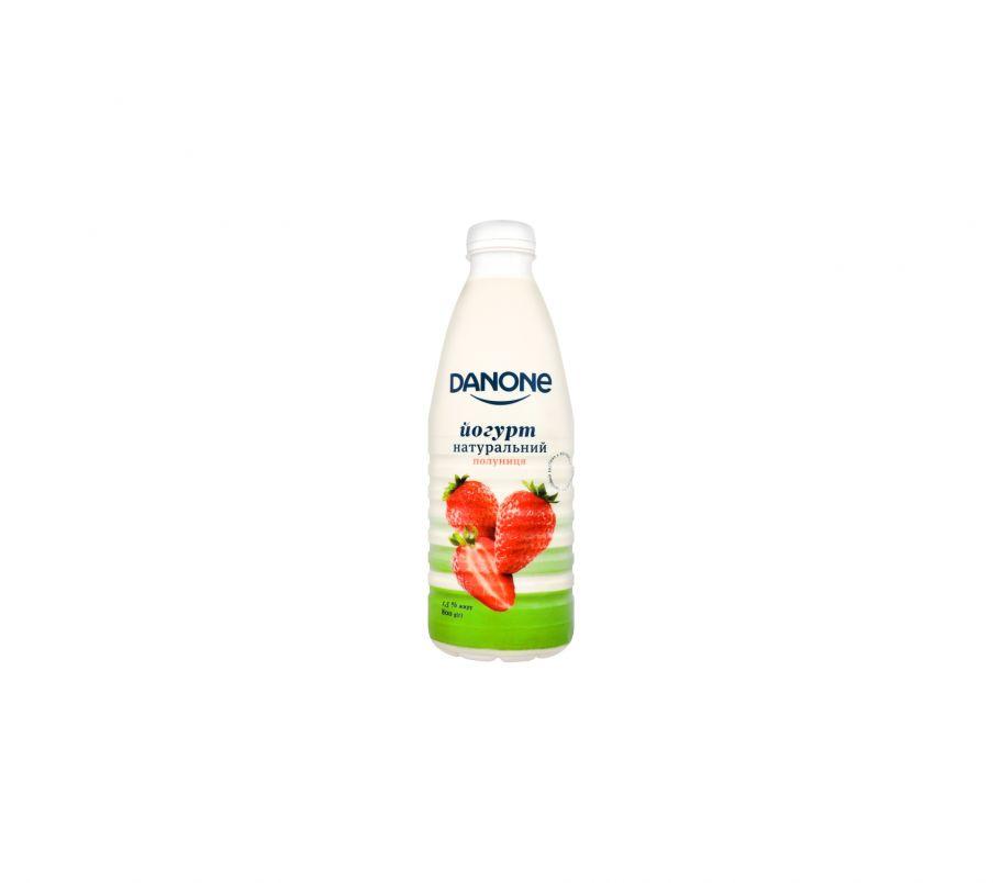Danone йогурт натуральный клубника 1,5% 800г