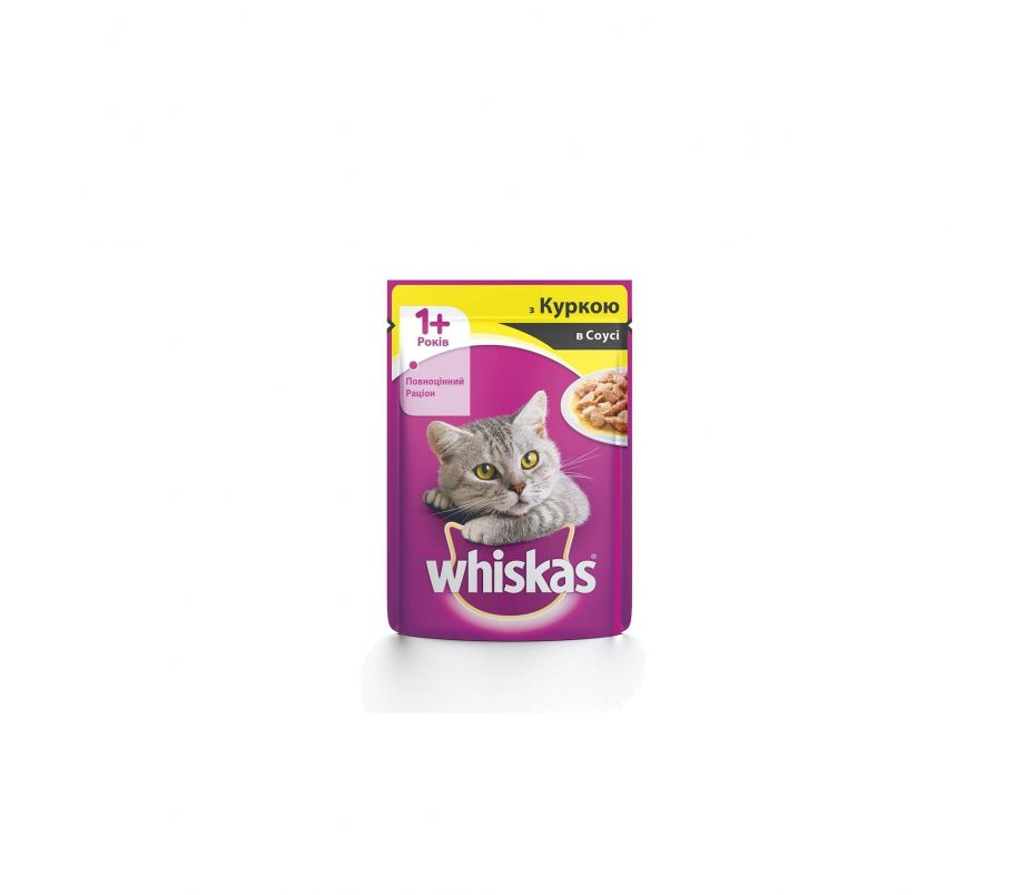 Whiskas Корм для котов 1год+ с курицей в соусе, 100 г