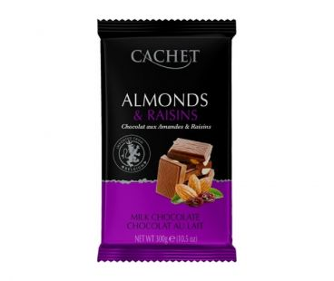 ШБ Шоколад Молочный Cachet Миндаль Изюм 300гр Бельгия