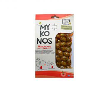 Маслины, оливки Olymp Оливки зеленые Миконос острый перец-травы 250г