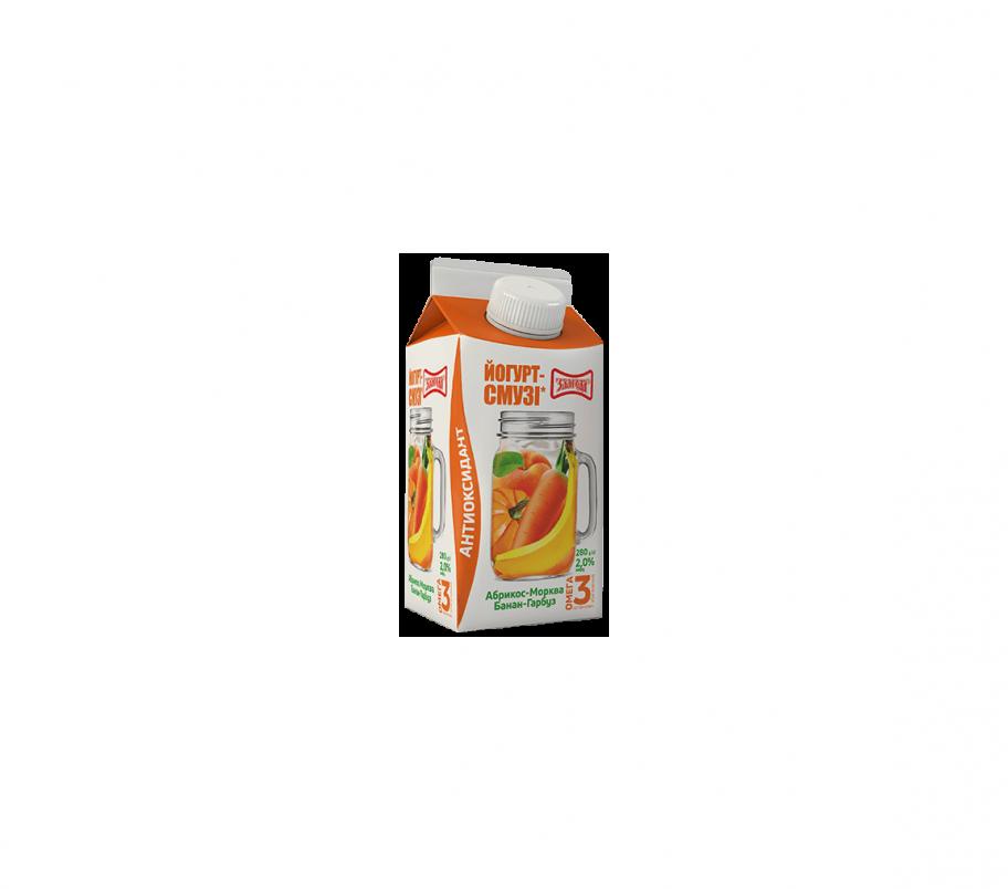 Злагода Йогурт-смузи Антиоксидант (Абрикос-морковь, банан, тыква), 2,0%, 280г